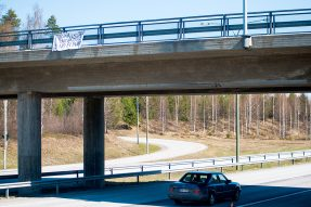 This picture of an anti-Islamic message displayed on Kuopiontie overpass was taken in early May last spring when xenophobic movement in Joensuu was highly active.